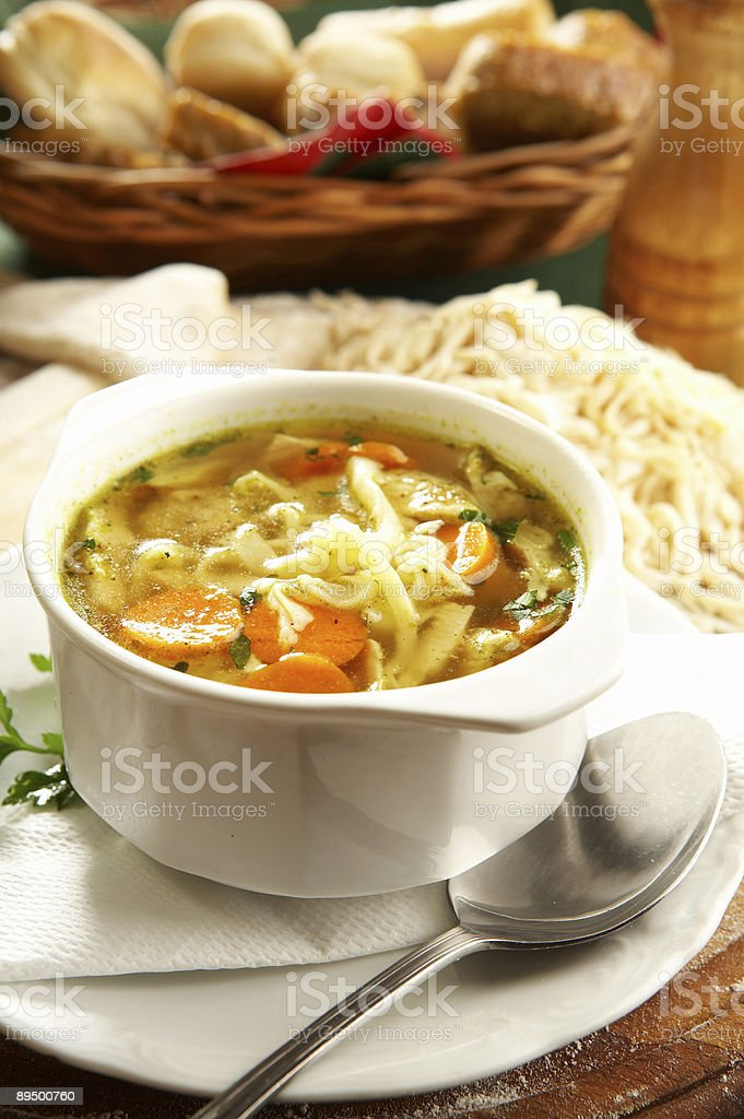 Chicken noodle soup royalty free stockfoto