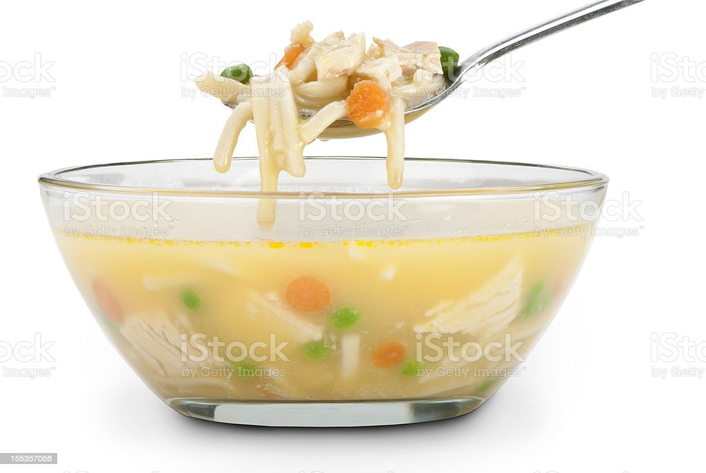 chicken noodle soup with a clipping path stock photo