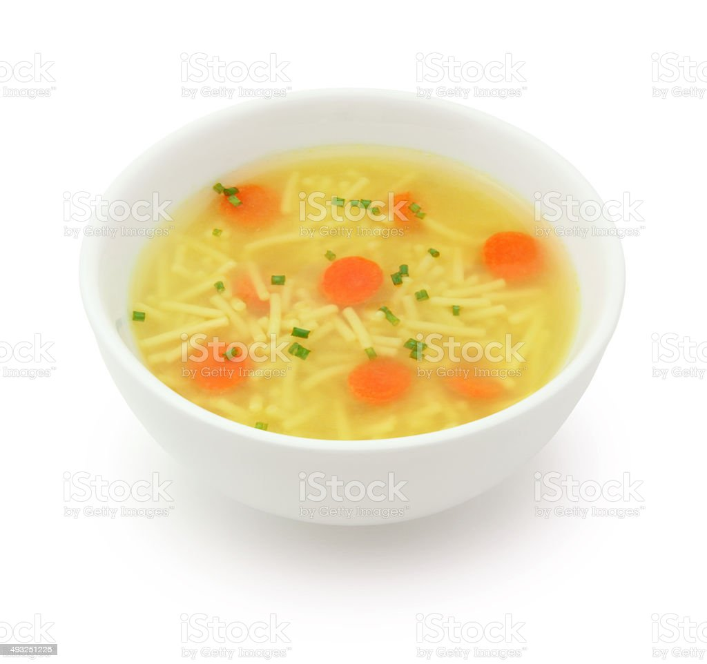 Chicken Noodles Soup (with path) stock photo