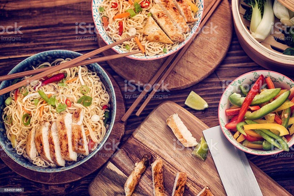 Chicken Noodles Stir Fry stock photo