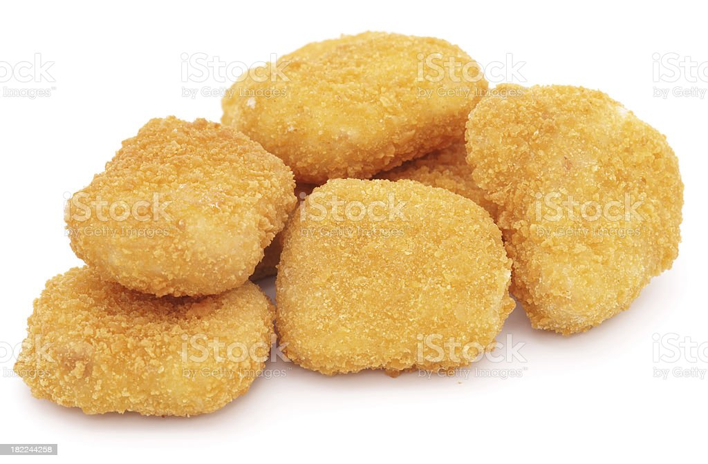 Chicken nuggets isolated on white stock photo