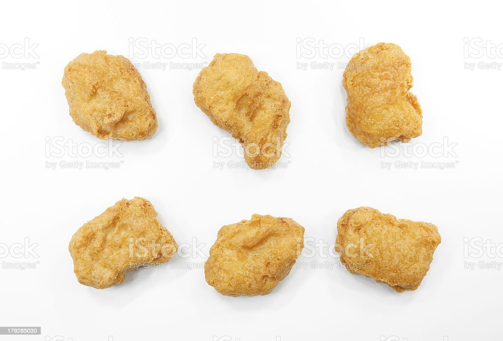 chicken nuggets on white background stock photo