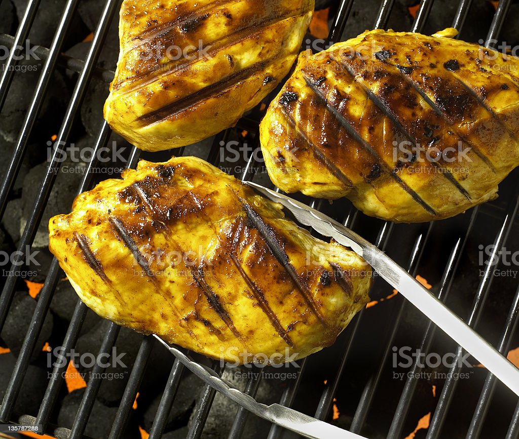 BBQ Chicken on grill royalty-free stock photo
