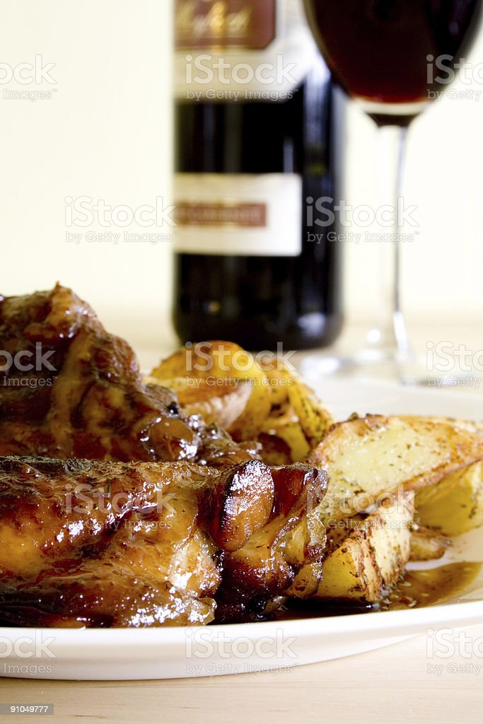 Chicken on honey with wine royalty-free stock photo