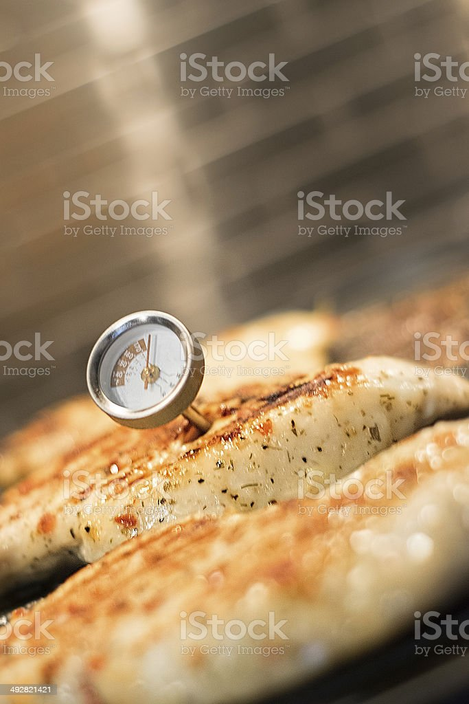 Chicken on indoor grill stock photo