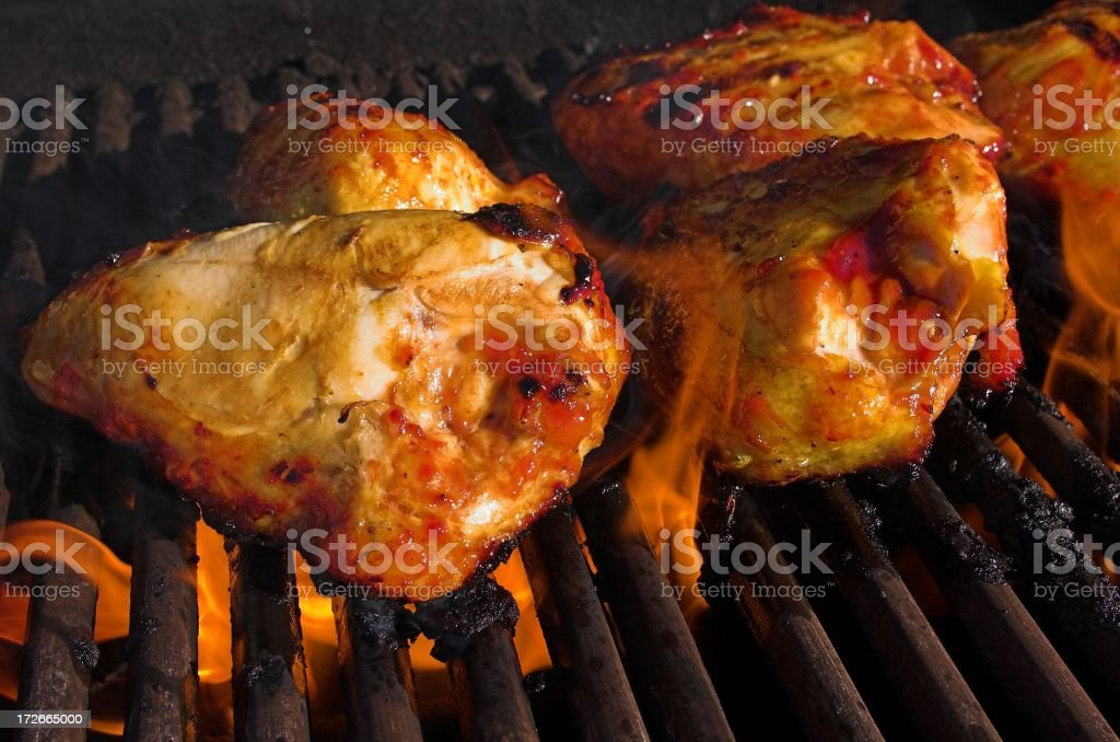 chicken on the grill royalty-free stock photo