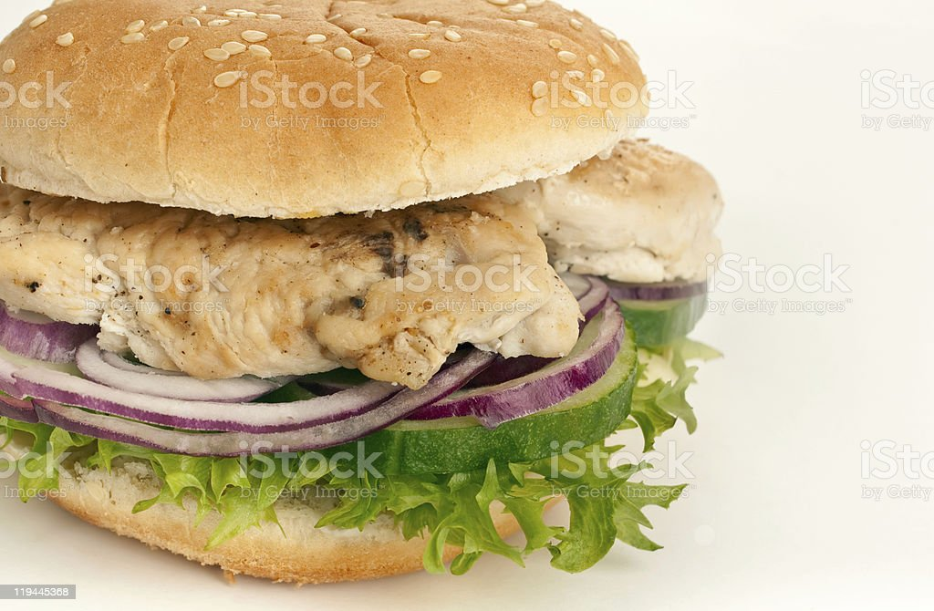chicken (turkey ), onions, cucumbers and lettuce sandwich royalty-free stock photo