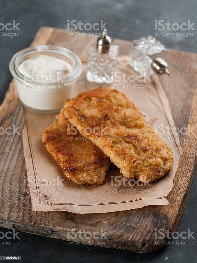 Chicken or pork schnitze stock photo