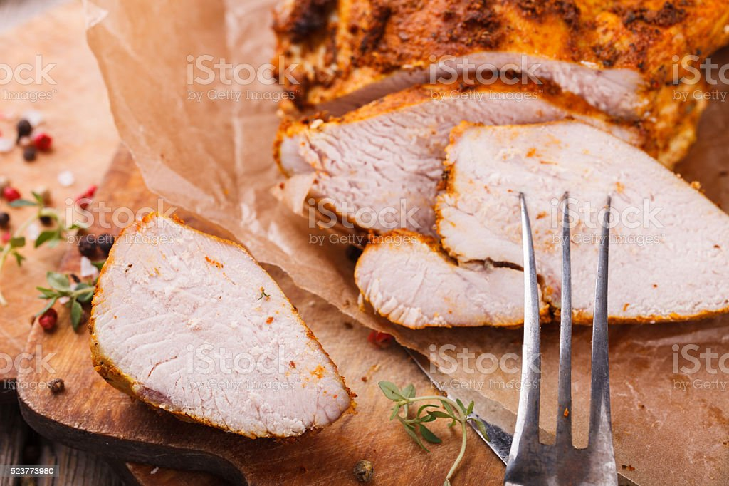 Chicken pastrami with thyme stock photo