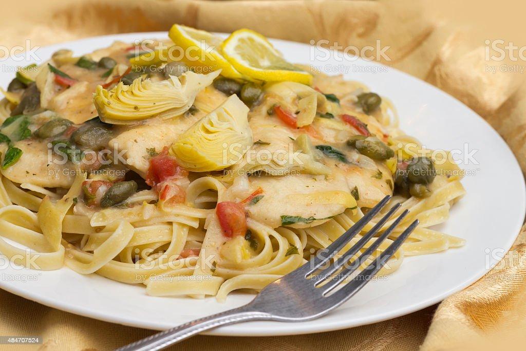 Chicken Piccata Linguine stock photo