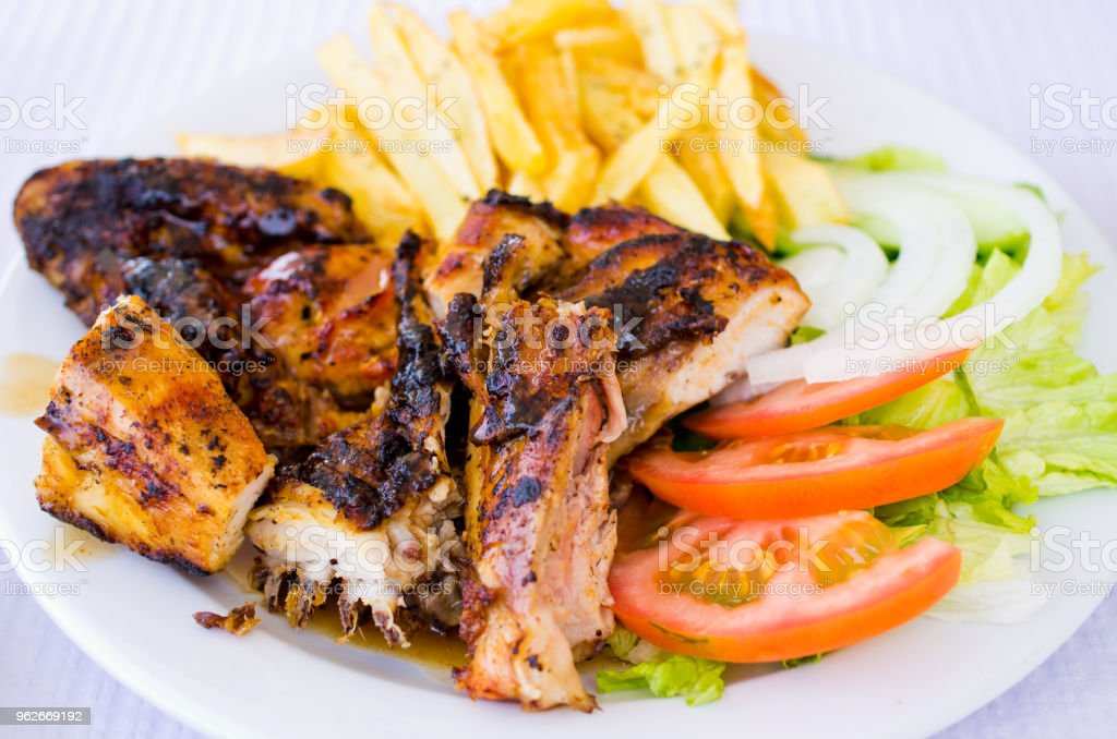 Chicken piri piri on Madeira island, Portugal stock photo