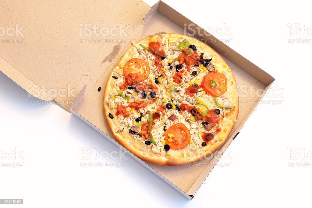 Chicken pizza in the box royalty-free stock photo
