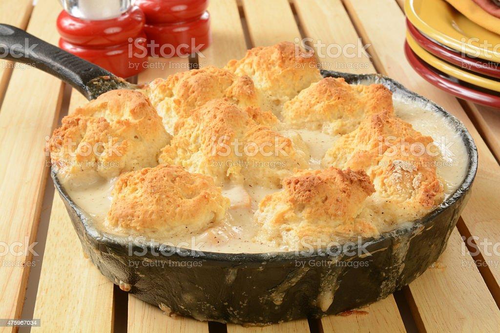 Chicken pot pie casserole stock photo