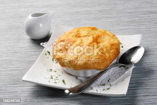Chicken Pot Pie - Carrots, onion, mushrooms and peas simmered in cream sauce and baked in a pie crust.