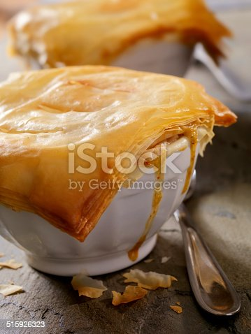 Chicken Pot Pie with a Flaky Phylo Crust- Photographed on Hasselblad H3D2-39mb Camera