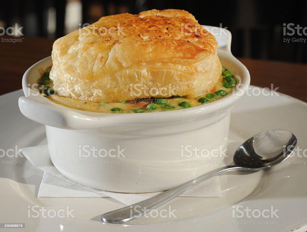 Chicken Pot Pie Presented stock photo