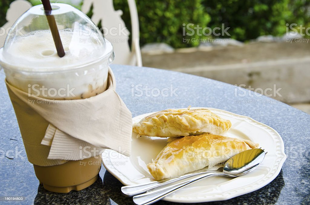 Chicken puff with coffee leisure. stock photo