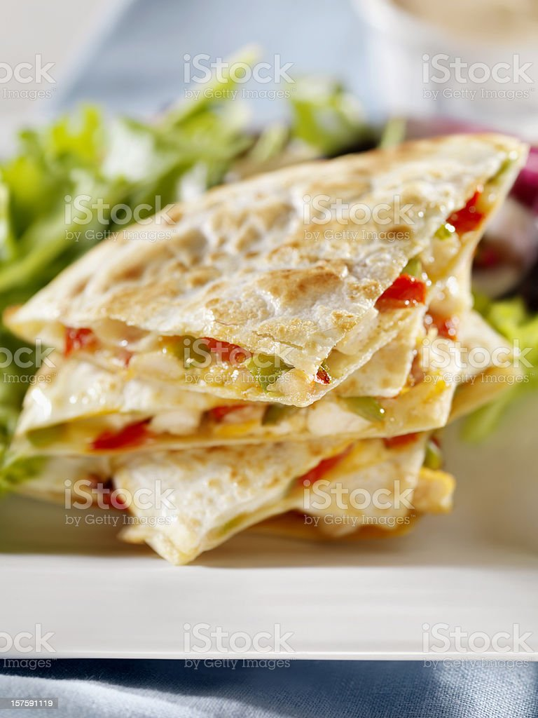 Chicken Quesadilla with a Garden Salad stock photo