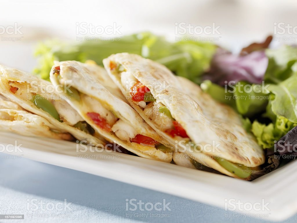 Chicken Quesadilla with a Garden Salad stock photo