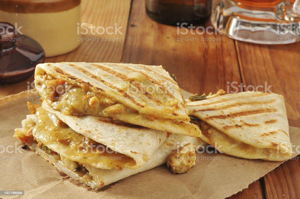 chicken quesadillas stock photo