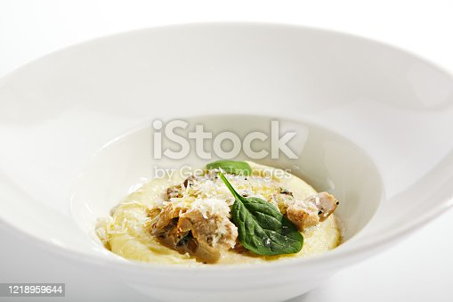 Chicken ragout close up. Served stew vegetables and meat. Italy traditional cuisine. Italian restaurant food portion, main course in white plate. Steamed dish with forest mushrooms and truffle oil