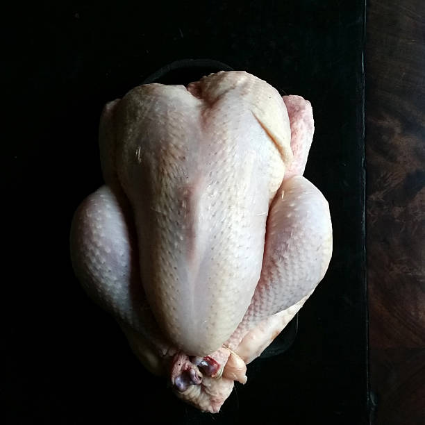 Chicken ready to cook Raw chicken ready to be cooked, goosebumps and dark background. goosebumps stock pictures, royalty-free photos & images