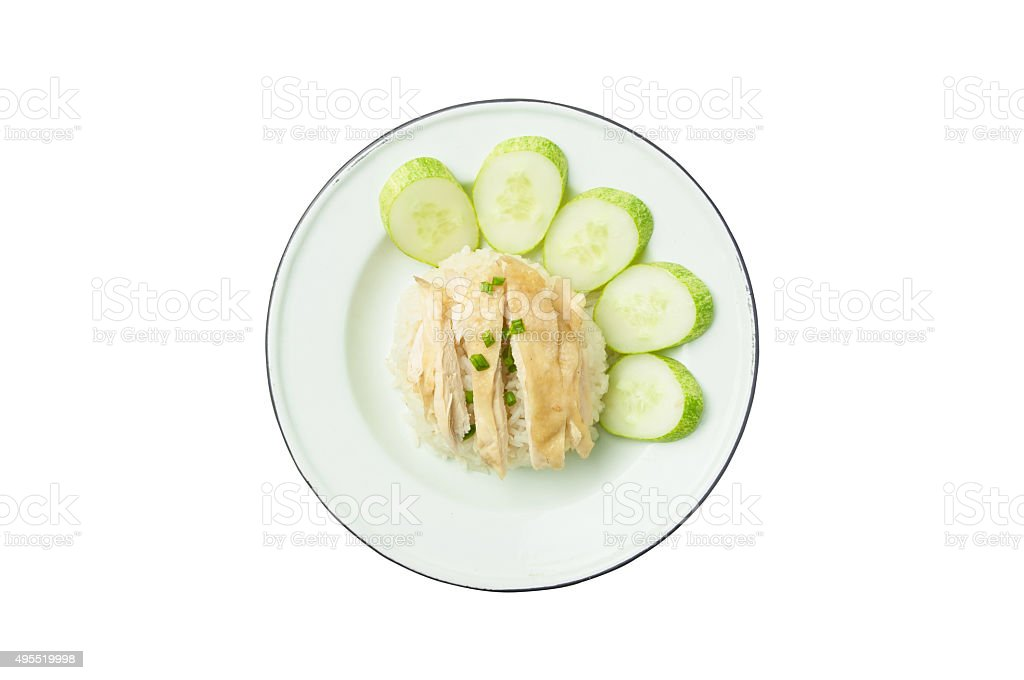 Chicken Rice Asian Food Isolated On White Background Stock