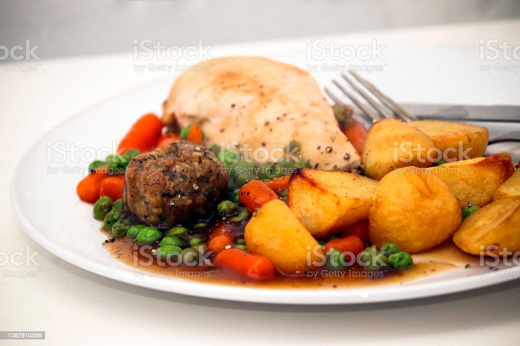Chicken Roast Dinner stock photo