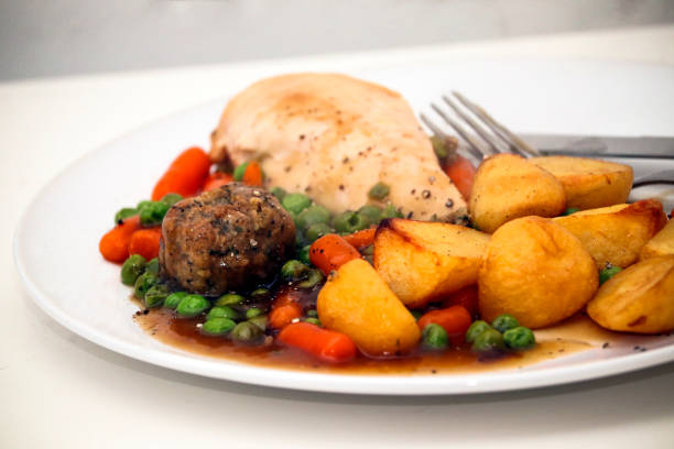 Chicken Roast Dinner stock photo