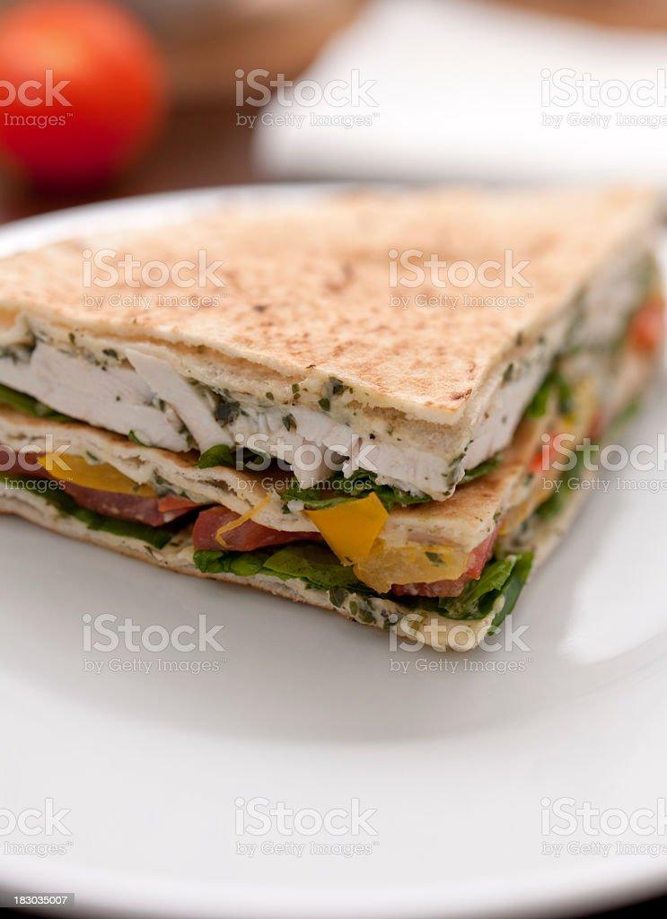 Chicken Salad flatbread sandwich stock photo