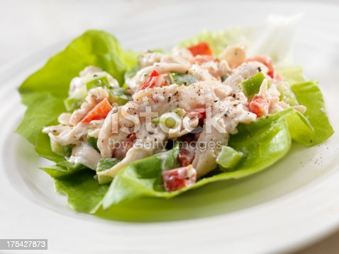 A Creamy Chicken Salad Lettuce Wrap with Red and Green Peppers- Photographed on Hasselblad H3D2-39mb Camera
