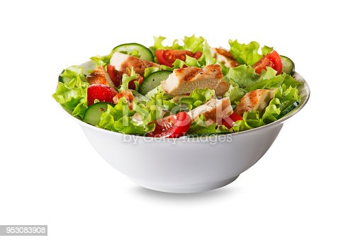Fresh green salad with chicken breast and tomato isolated on white background