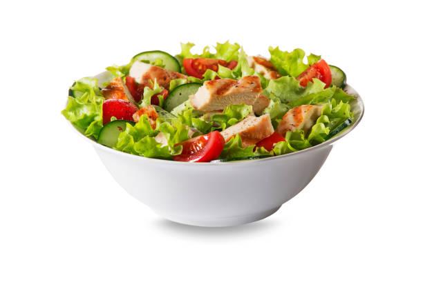 kippensalade - salade stockfoto's en -beelden