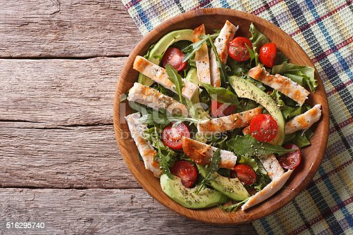 istock Chicken salad with avocado, arugula and tomatoes. horizontal 516295740