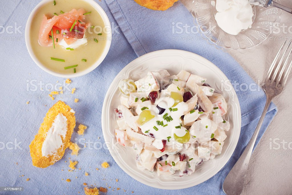 Chicken salad with grapes, apples and cranberries stock photo