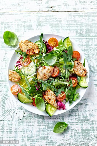 istock Chicken salad with leaf vegetables and cherry tomatoes 466520634
