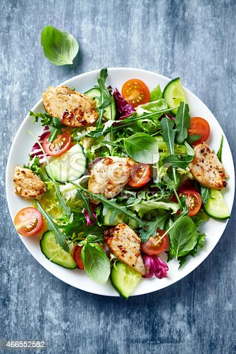istock Chicken salad with leaf vegetables and cherry tomatoes 466552582