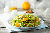 Homemade chicken salad with orange and almond