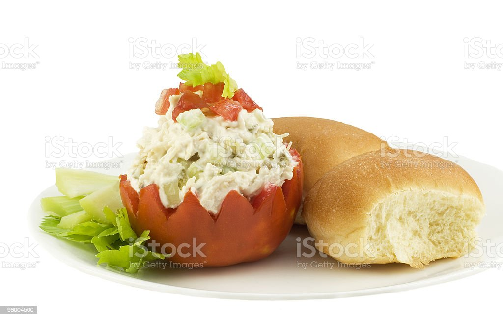 Chicken Salad with Tomato on Plate royalty free stockfoto