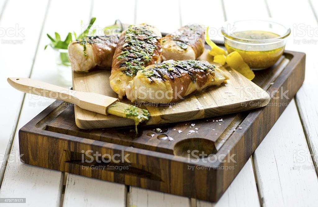 Chicken saltimbocca stock photo