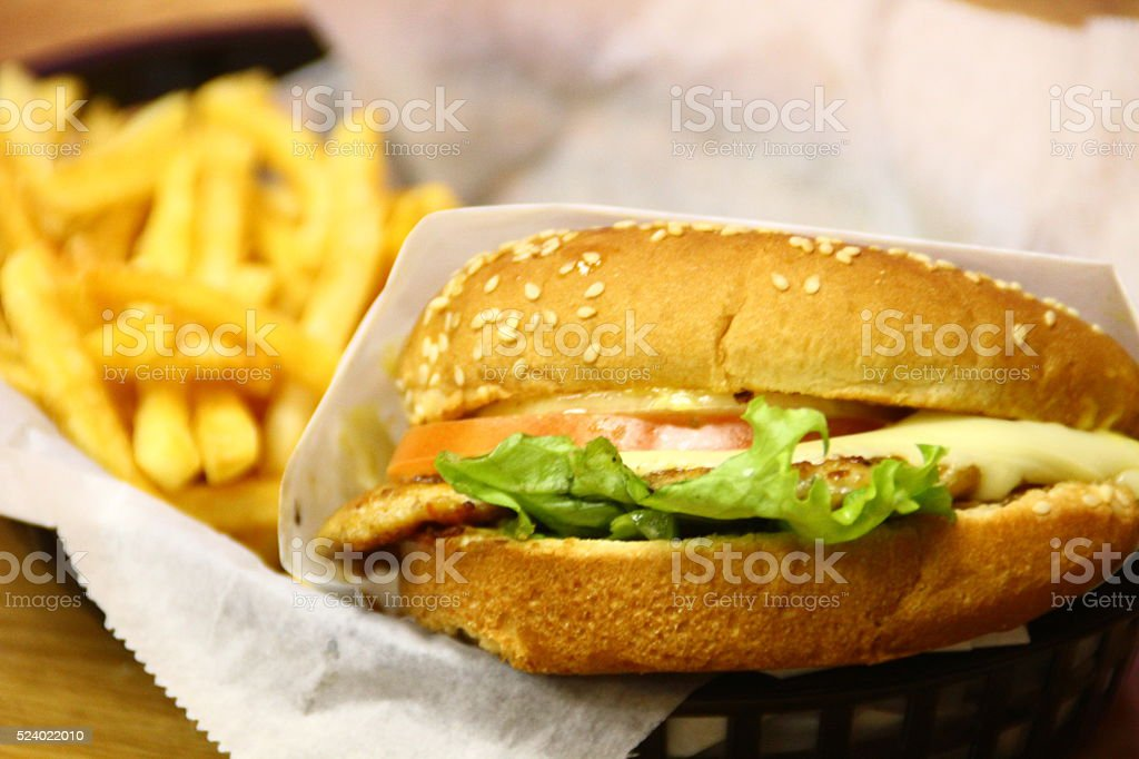 Chicken Sandwich & Fries stock photo