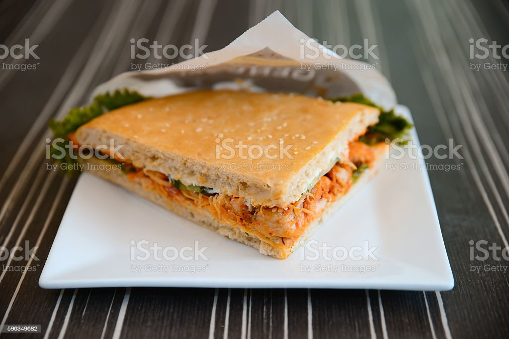 chicken sandwich on a plate royalty-free stock photo