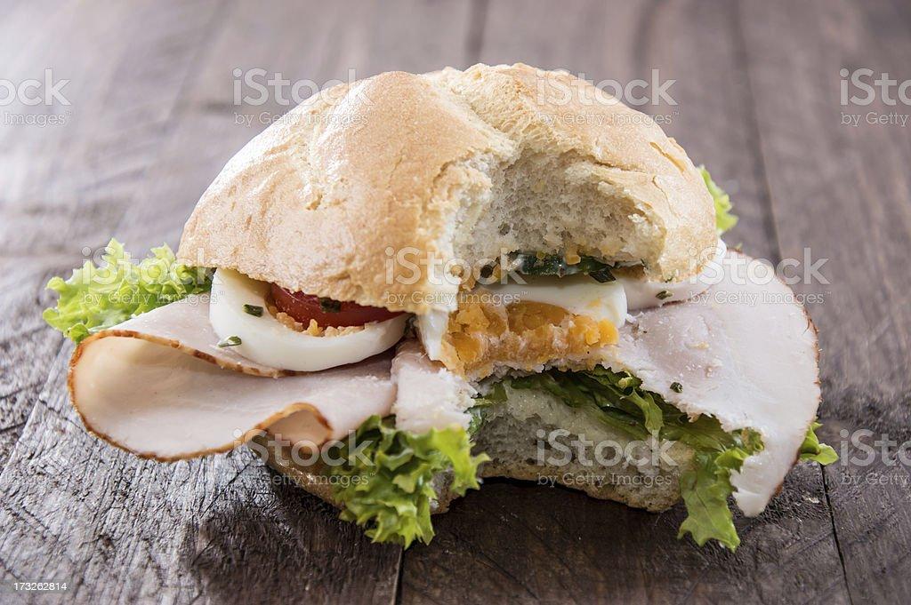 Chicken Sandwich on wood royalty-free stock photo