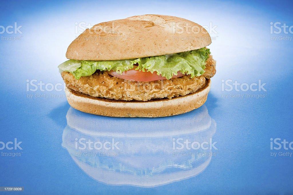 chicken sandwich (blue reflection) stock photo