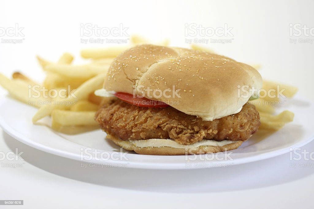 chicken sandwich with french fries stock photo