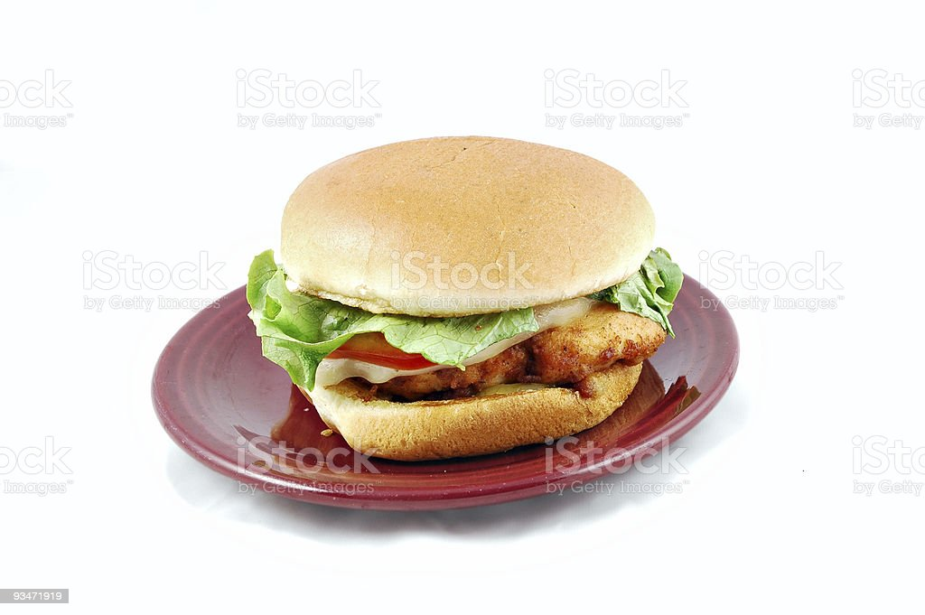 Chicken sandwich with red plate royalty-free stock photo