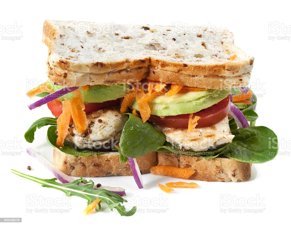 Chicken sandwich with vegetables on rye bread royalty-free stock photo