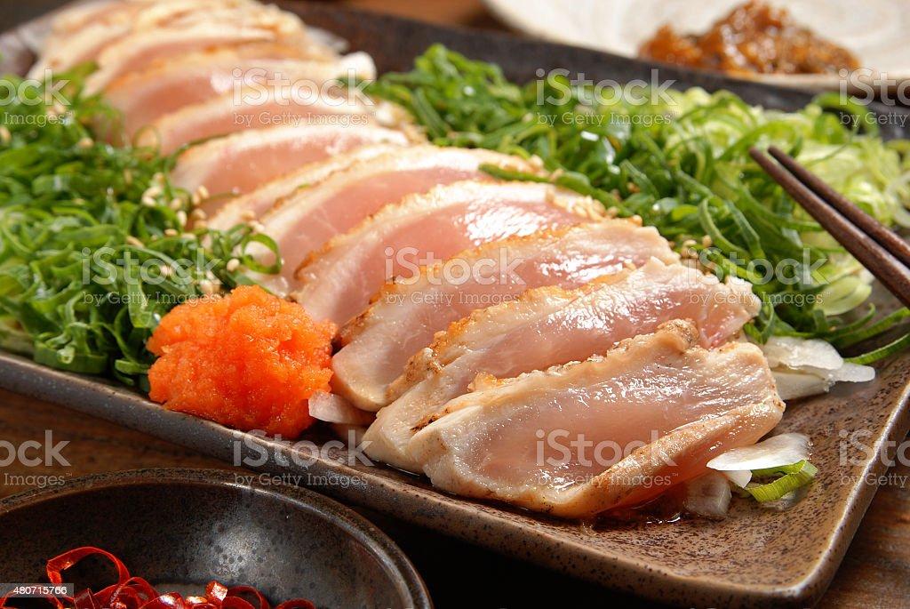 Chicken sashimi stock photo