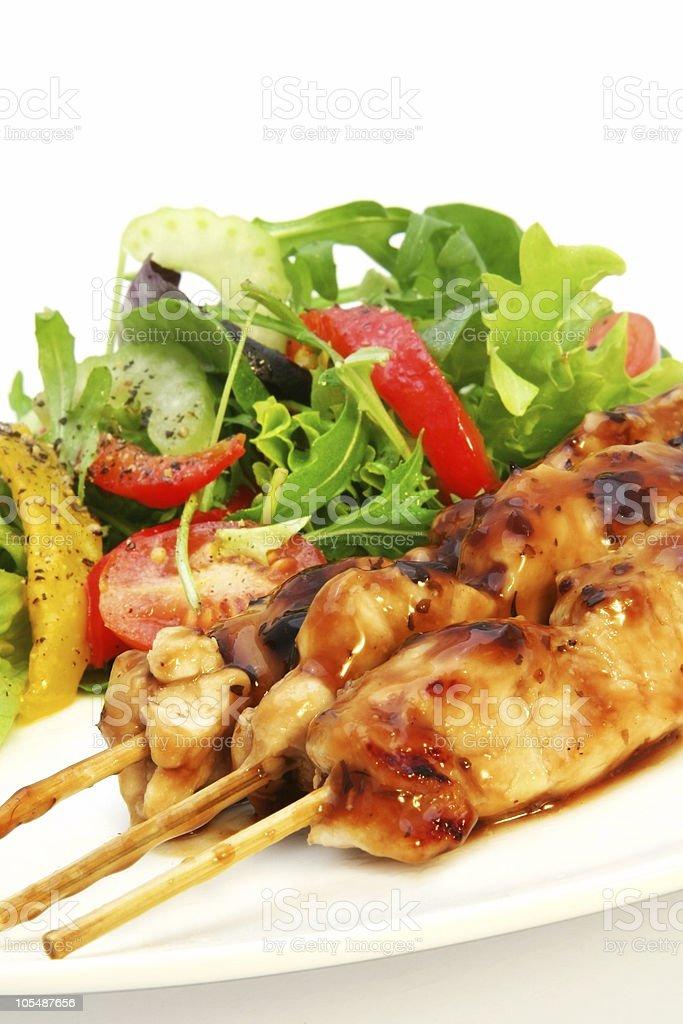 Chicken Satay and Salad royalty-free stock photo