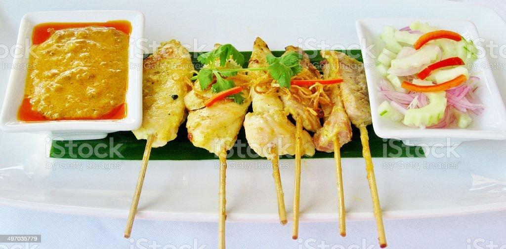 Chicken satay royalty-free stock photo